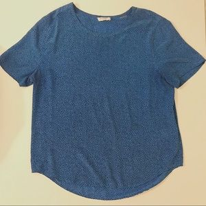 Equipment Silk Blue Dotted Riley Blouse (Large)